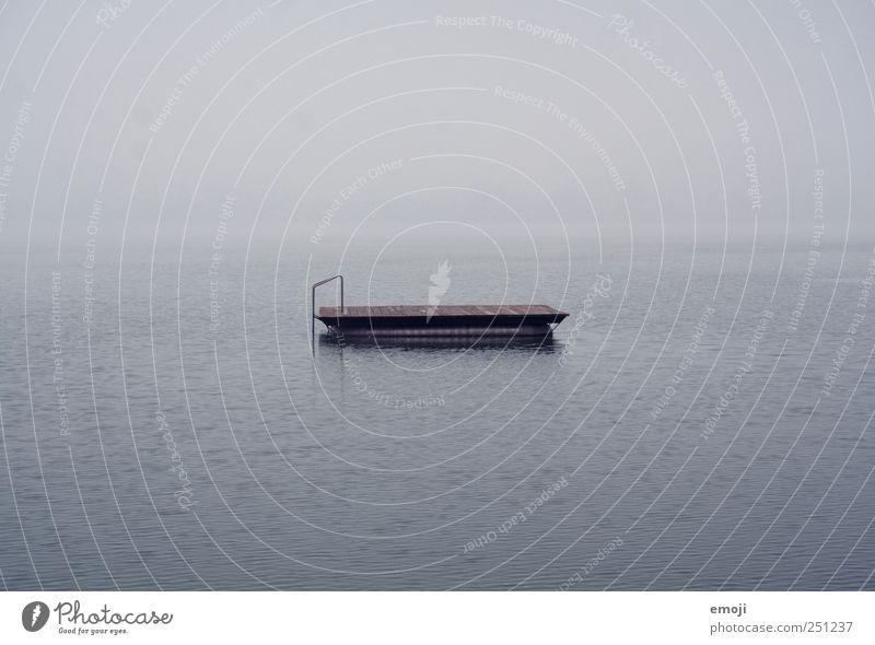 Floss Wasser blau ruhig dunkel kalt Traurigkeit See Nebel Urelemente Unendlichkeit schlechtes Wetter Floß