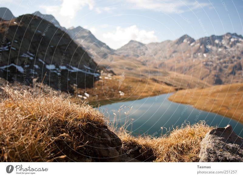 No Tree Hills Natur alt Wasser blau Pflanze Freude ruhig Tier Umwelt Freiheit Landschaft Berge u. Gebirge Glück See braun Zufriedenheit