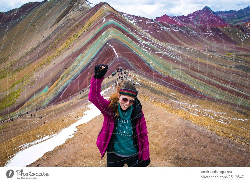 Auf dem Gipfel des Regenbogenberges, Peru. Leben Ferien & Urlaub & Reisen Tourismus Ausflug Abenteuer Freiheit Expedition Winter Klettern Bergsteigen wandern