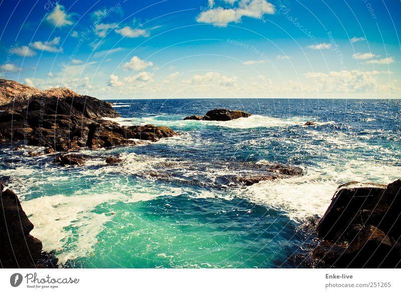 Schaumkrone Himmel Natur Wasser blau Sommer Meer Einsamkeit Ferne Leben Umwelt Küste Erde Stimmung Wellen Horizont elegant