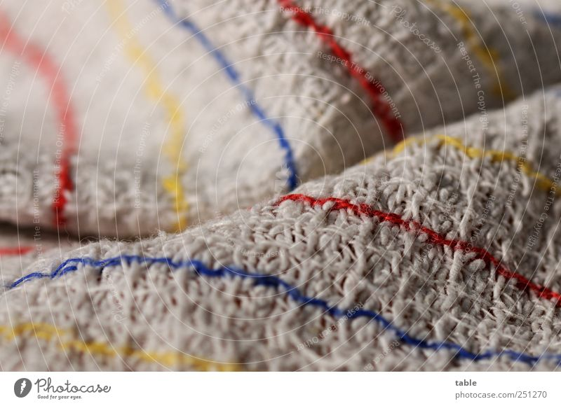 Putztag blau rot gelb grau Linie Häusliches Leben Reinigen Küche Sauberkeit einfach trocken anstrengen Reinheit Geschirrspülen Baumwolle Faltenwurf