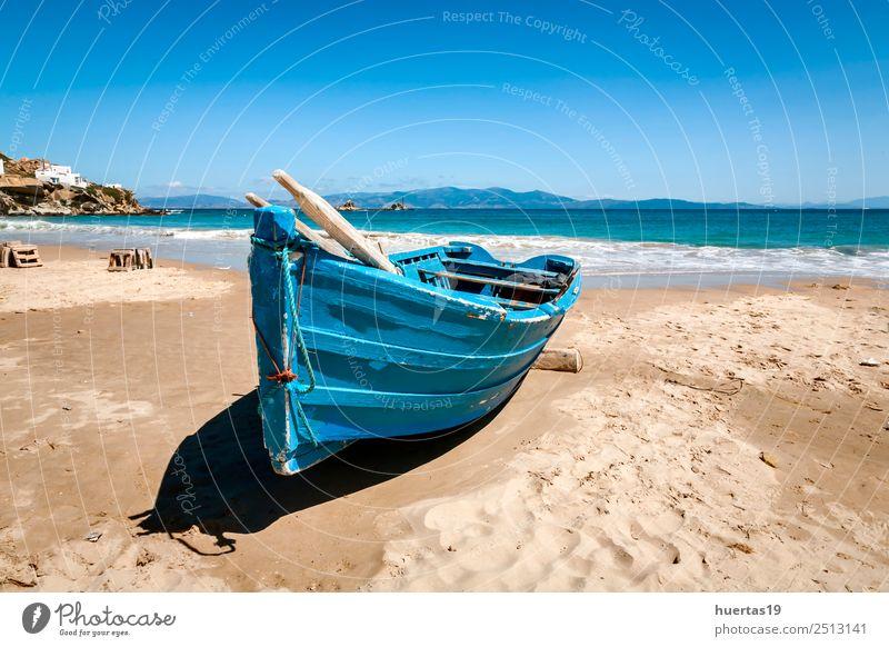 Boot am Strand Erholung Ferien & Urlaub & Reisen Tourismus Meer Sport Natur Sand Küste Verkehr Bootsfahrt Wasserfahrzeug Sonnenbrille Schal Hausschuhe Hut