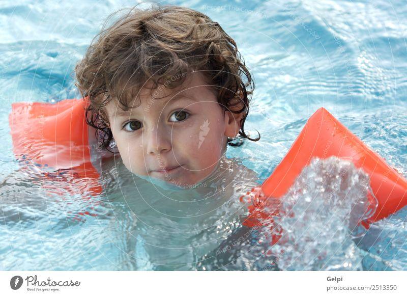 Junge lernt schwimmen schön Schwimmbad Spielen Ferien & Urlaub & Reisen Meer Kind Mensch Baby Kleinkind Familie & Verwandtschaft Kindheit blond klein unschuldig