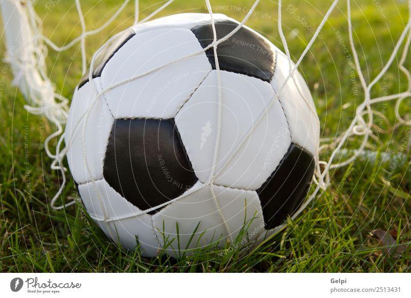 Fußball Freude Spielen Sport Leichtathletik Ball Stadion Schule Schulhof Gras Park Leder grün schwarz weiß Konkurrenz Aktion Hintergrund kreisen