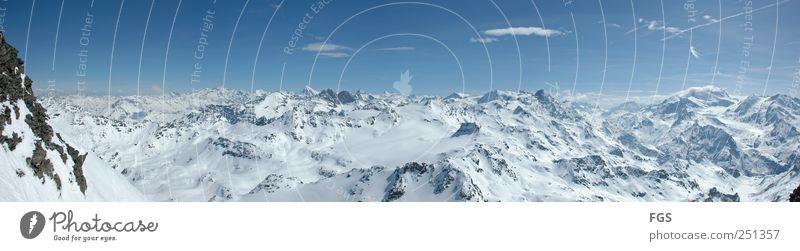 Mont Fort harmonisch Erholung ruhig Ferne Freiheit Expedition Winter Schnee Skipiste Umwelt Natur Landschaft Himmel Wolken Horizont Sonnenlicht Wetter