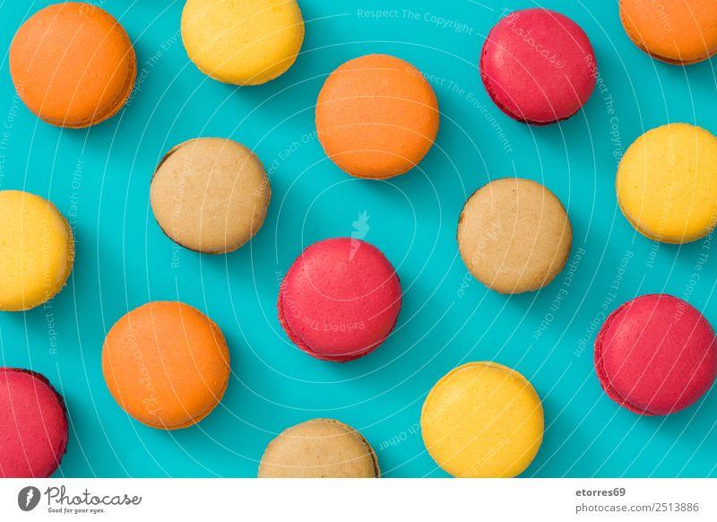Kuchen Makronen Lebensmittel Dessert Süßwaren frisch gut blau braun gelb orange rot Macaron Backwaren mehrfarbig süß Zucker Schokolade türkis Vogelperspektive