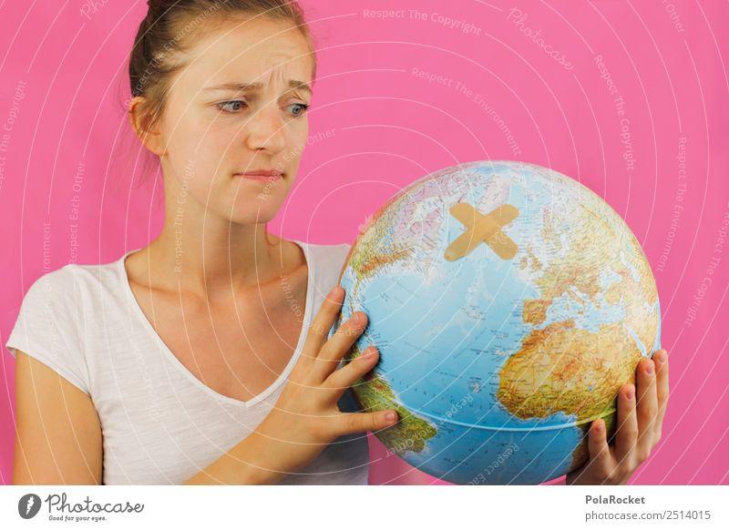 #A# Größere Aua Mensch Junge Frau Umwelt Kunst Erde ästhetisch Zukunft festhalten Zukunftsangst Umweltschutz Globus nachhaltig Sorge ökologisch Klimawandel