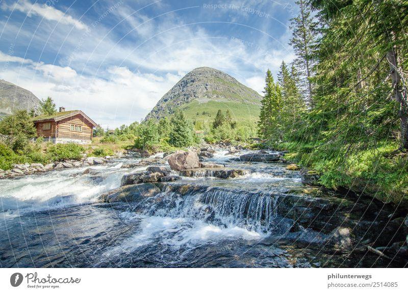 Hütte an einem Fluss in Norwegen bei Sonnenschein Ferien & Urlaub & Reisen Ausflug Abenteuer Ferne Freiheit Expedition Camping Umwelt Natur Landschaft