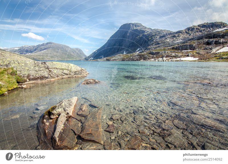 Alpiner See in Norwegen ohne Menschen mit Schnee im Hintergrund Freizeit & Hobby Angeln Ferien & Urlaub & Reisen Tourismus Ausflug Abenteuer Ferne Expedition