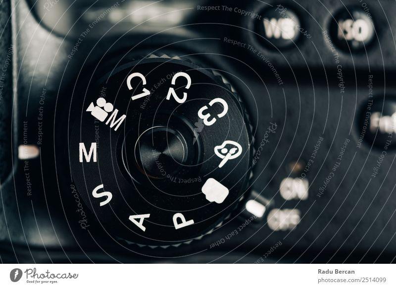 Digitalkamera-Steuerrad mit Anzeige der allgemeinen Fotomodi Hardware Videokamera Fotokamera Technik & Technologie Zeichen Schriftzeichen Ziffern & Zahlen
