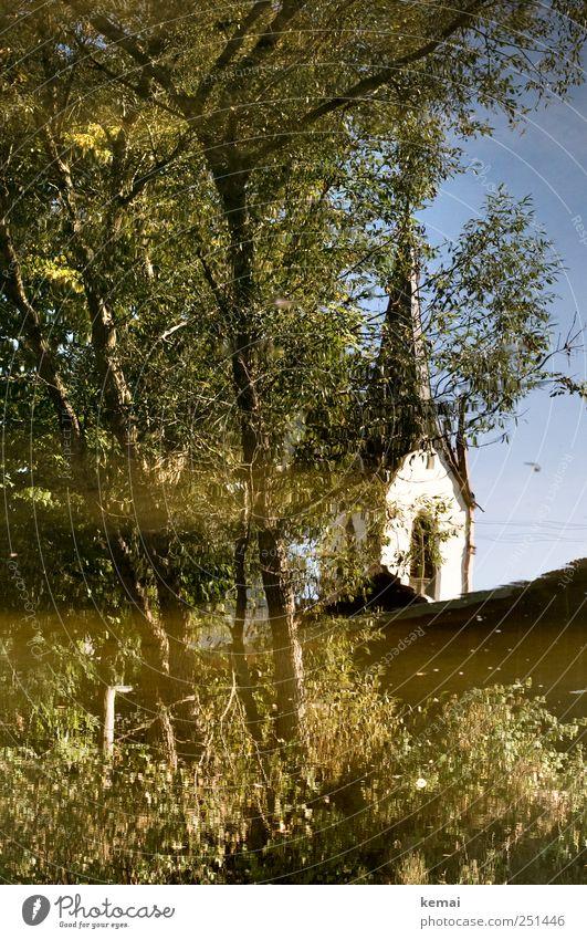 [CHAMANSÜLZ 2011] Kirche im Wasser Umwelt Natur Pflanze Schönes Wetter Baum Blatt Grünpflanze Wildpflanze Bach Fluss Dorf Kirchturm Fenster grün Idylle