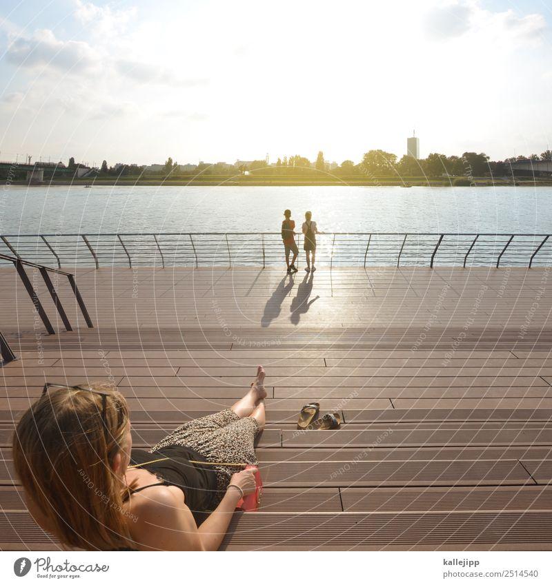 landungsbrücken raus Frau Kind Mensch Ferien & Urlaub & Reisen Sommer Erholung Mädchen Ferne Lifestyle Erwachsene Leben Familie & Verwandtschaft Junge Tourismus