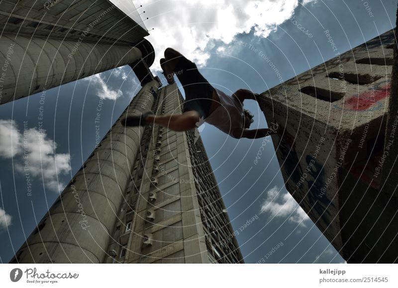urban surfer Sport Fitness Sport-Training Mensch maskulin Mann Erwachsene Körper 1 Stadt Hauptstadt Haus Hochhaus Bauwerk Gebäude Architektur Mauer Wand Fassade