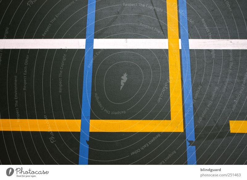 Hold The Line Freizeit & Hobby Ballsport Volleyball Sportstätten Kunststoff Spielen blau gelb grau grün schwarz weiß Langeweile Linie Grenze Begrenzung Farbfoto