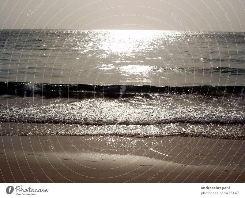 wasser halt...wat sonst? Wasser Sonne Strand Sand Wellen Horizont Spiegel brechen
