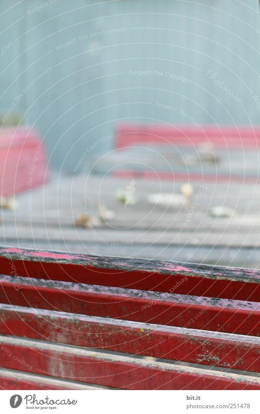 [CHAMANSÜLZ 2011] Garten Möbel Stuhl Tisch Holz alt eckig einfach blau rot komplex Bank Gartenmöbel Holzbrett Holzleiste Anstrich verwaschen verfallen morbid