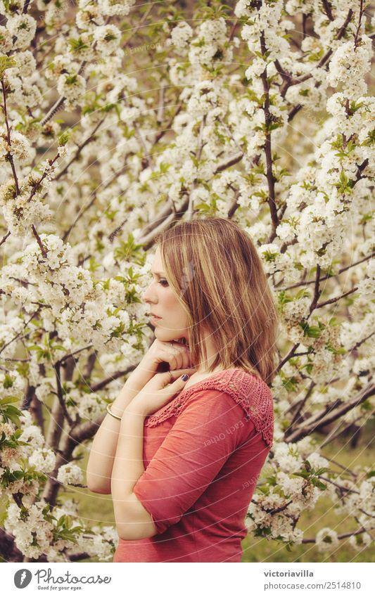 Kirschblütenmädchen Mensch feminin Junge Frau Jugendliche Erwachsene 1 13-18 Jahre 18-30 Jahre 30-45 Jahre Baum Blume Kirschblütenbaum atmen Blühend authentisch