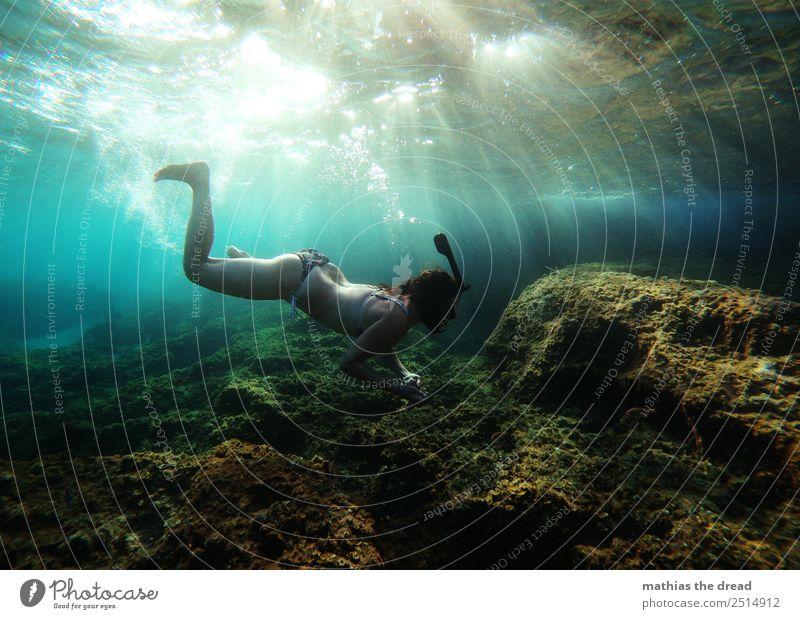 UNTER DEM MEER Ferien & Urlaub & Reisen Tourismus Abenteuer Sommerurlaub Schwimmen & Baden tauchen feminin Junge Frau Jugendliche Wasser Schönes Wetter Wellen