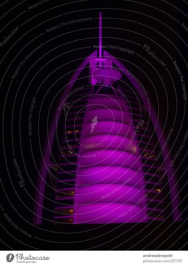Burj Al Arab at night Haus Wellen Architektur Hotel