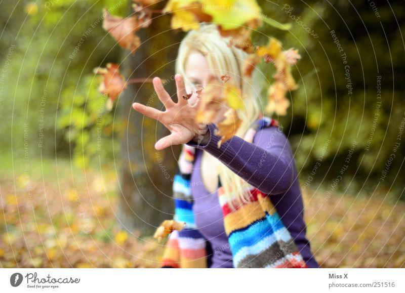 Wurf Mensch feminin Junge Frau Jugendliche Hand 1 18-30 Jahre Erwachsene Herbst Blatt Garten Park Schal blond werfen Fröhlichkeit Gefühle Freude Lebensfreude