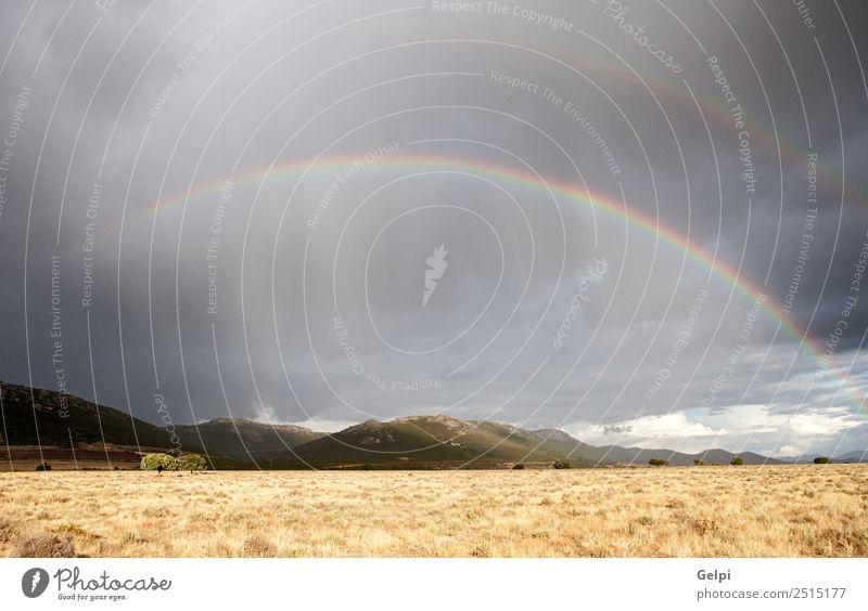 Dunkler Himmel mit Wolken und Regenbogen Sommer Sonne Berge u. Gebirge Umwelt Natur Landschaft Pflanze Horizont Wetter Unwetter Wind Wiese Wachstum Coolness