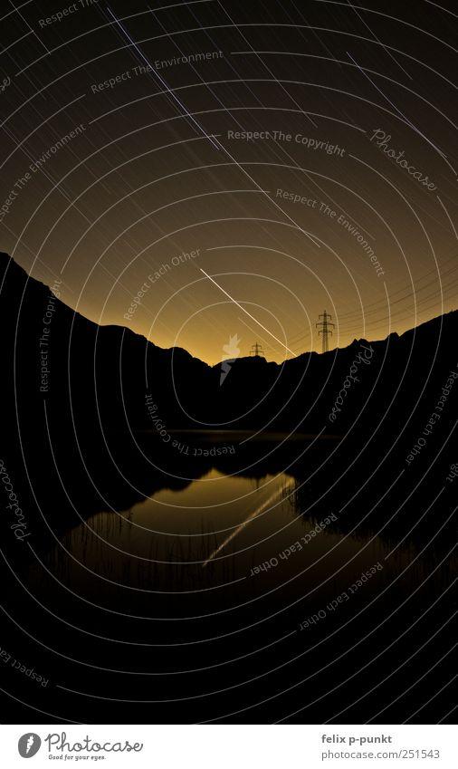 Stars in sunset Lifestyle elegant Freiheit Berge u. Gebirge Umwelt Natur Landschaft Wasser Himmel Nachthimmel Stern Sonnenaufgang Sonnenuntergang Schönes Wetter