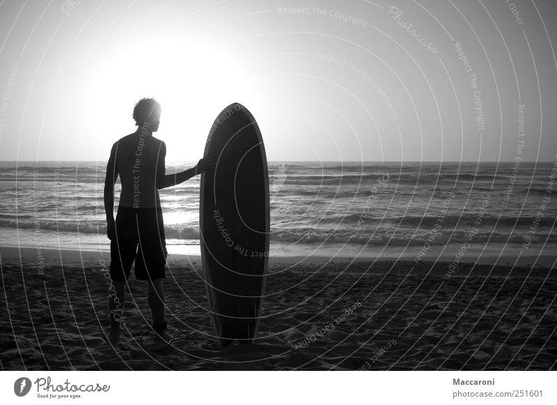 Poser Mensch Jugendliche Ferien & Urlaub & Reisen Meer Freude Strand Junger Mann Sport Küste natürlich Freizeit & Hobby maskulin Kraft Wellen Lifestyle warten