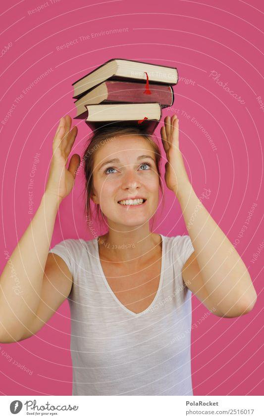 #A# einfach meistern Kunst ästhetisch Zufriedenheit Kitsch Wissen Studium lernen lernfähig Buch rosa Frau Gleichgewicht Junge Frau Karriere Farbfoto mehrfarbig