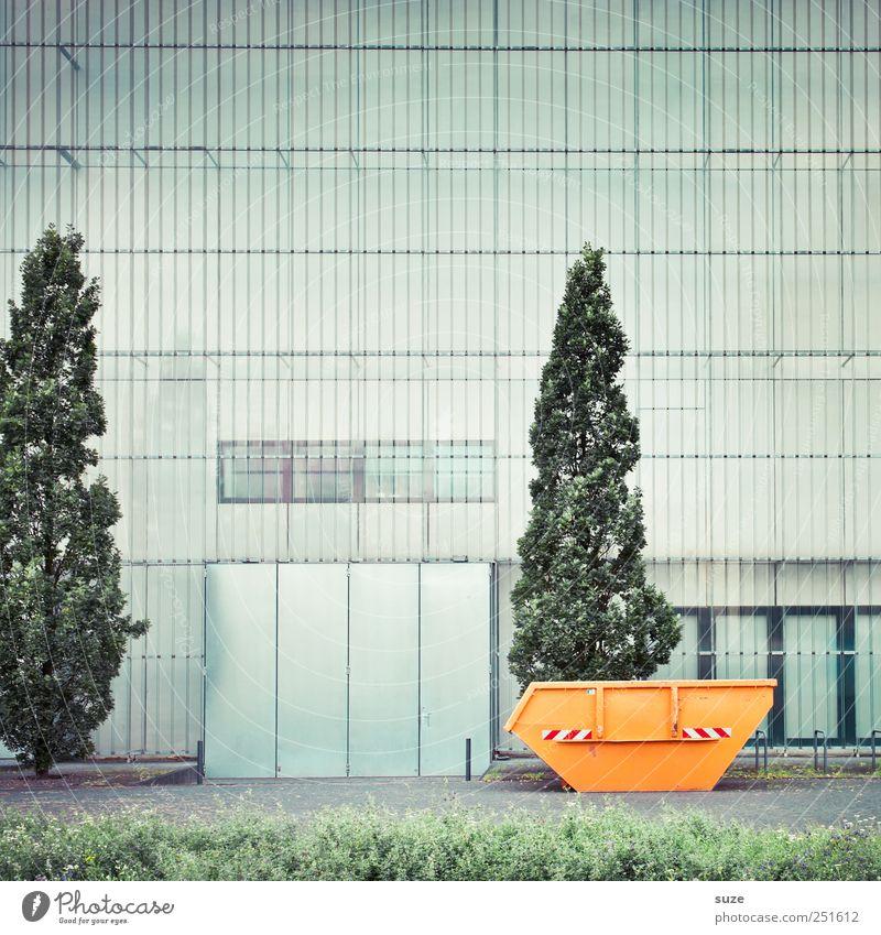 Container Kunst Museum Kultur Baum Wiese Stadt Bauwerk Architektur Fassade Fenster Wachstum hoch trist grün orange Ordnung Wandel & Veränderung