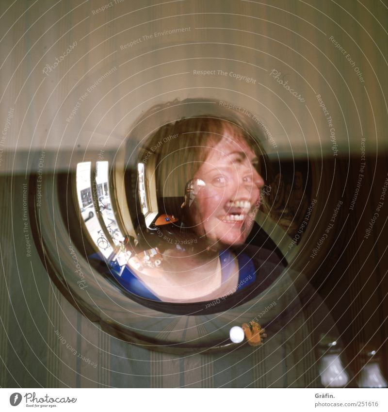 Smiling face Mensch Junge Frau Jugendliche 1 30-45 Jahre Erwachsene Lächeln lachen Fröhlichkeit schön grau Gefühle Freude Lebensfreude Begeisterung