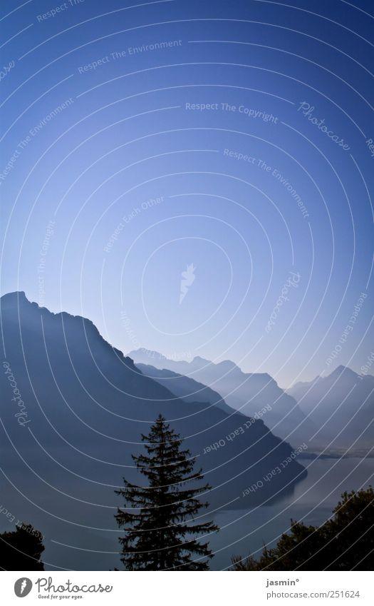 blau, blauer, am blausten! Landschaft Himmel Wetter Schönes Wetter Baum Felsen Alpen Berge u. Gebirge See schön ruhig Reinheit Fernweh Farbfoto mehrfarbig