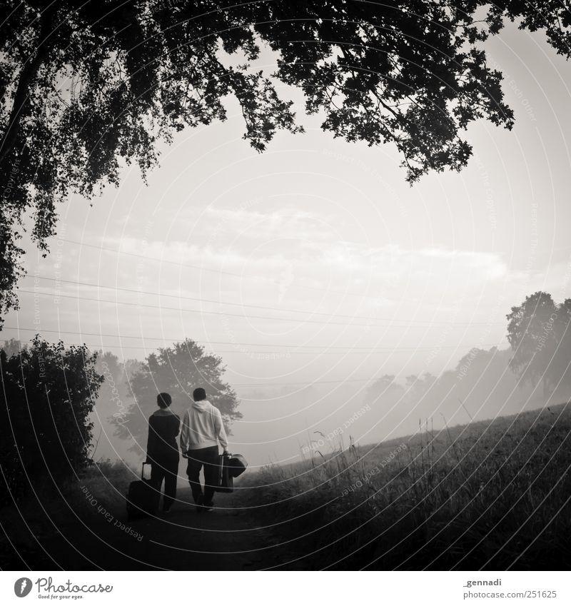 Die Reise beginnt Mensch Jugendliche Ferien & Urlaub & Reisen Freude Erwachsene Wiese dunkel Wege & Pfade Paar gehen Nebel ästhetisch einfach Reisefotografie 18-30 Jahre Mut