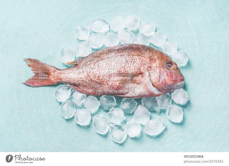 Pink Dorado Fisch roh auf Eiswürfeln Lebensmittel Ernährung Diät Stil Design Gesunde Ernährung Restaurant rosa auf blau Essen Foodfotografie Farbfoto