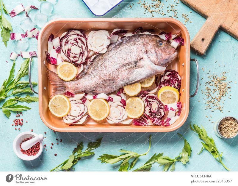 Rosa Dorado Fisch in Backform Lebensmittel Gemüse Kräuter & Gewürze Öl Ernährung Mittagessen Abendessen Festessen Bioprodukte Vegetarische Ernährung Diät Stil