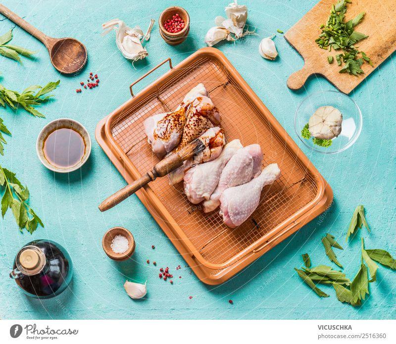 Marinierte Hähnchenkeulen zubereiten Lebensmittel Fleisch Kräuter & Gewürze Öl Ernährung Mittagessen Abendessen Bioprodukte Diät Geschirr Stil Design