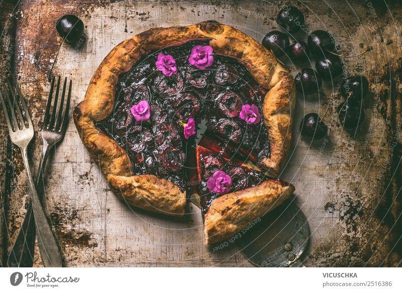 Kirchen Galette Lebensmittel Frucht Teigwaren Backwaren Kuchen Ernährung Bioprodukte Besteck Stil Design Sommer Häusliches Leben Tisch Küche Stillleben Gabel