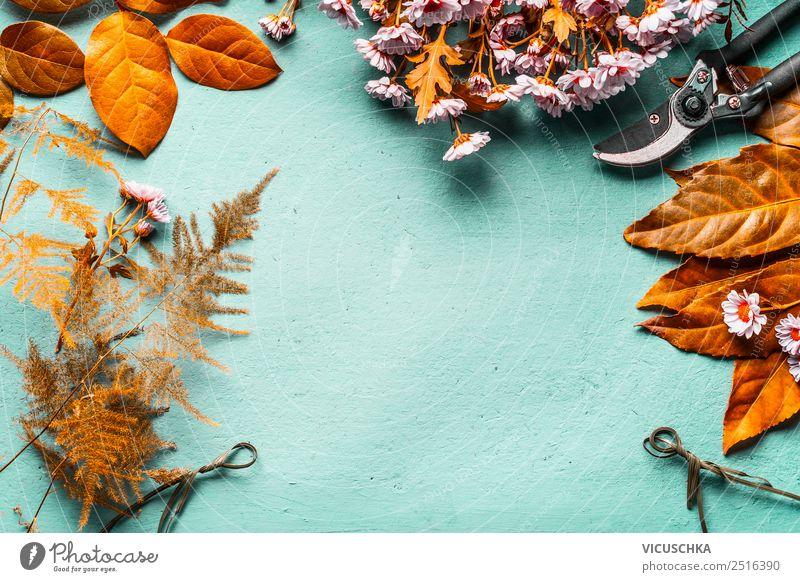 Herbst Dekoration mit Herbstlaub basteln Stil Design Dekoration & Verzierung Blumenstrauß Basteln Schere Rahmen Hintergrundbild Idee Farbfoto Studioaufnahme