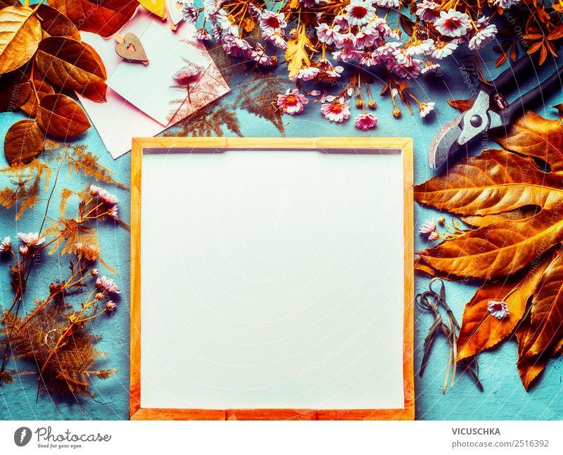 Herbs Hintergrund mit Laub, Blumen und Floristik Zubehör Lifestyle Stil Design Freizeit & Hobby Häusliches Leben Schreibtisch Feste & Feiern Natur Herbst Blatt