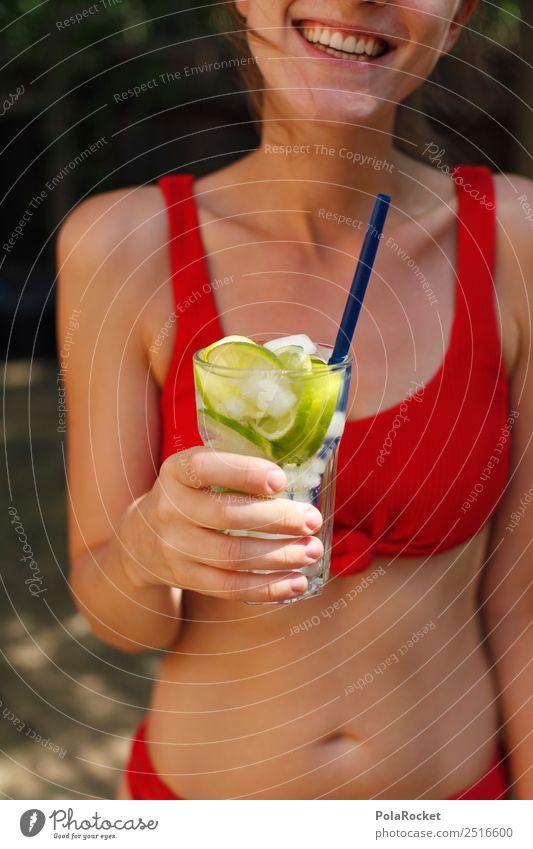 #A# Summer Red Junge Frau Sommer rot Erotik Kunst Party ästhetisch Getränk lecker Sommerurlaub Partygast Erfrischung Bikini Alkohol Alkoholisiert sommerlich