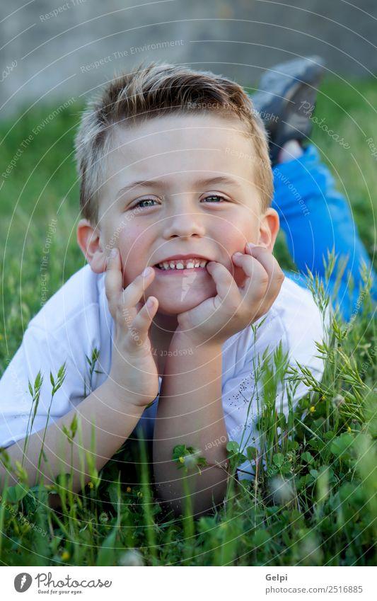 Nachdenkliches lustiges Kind, das auf dem Gras liegt. Freude Glück schön Gesicht Freiheit Sommer Garten Mensch Junge Mann Erwachsene Kindheit Natur Blume Blatt