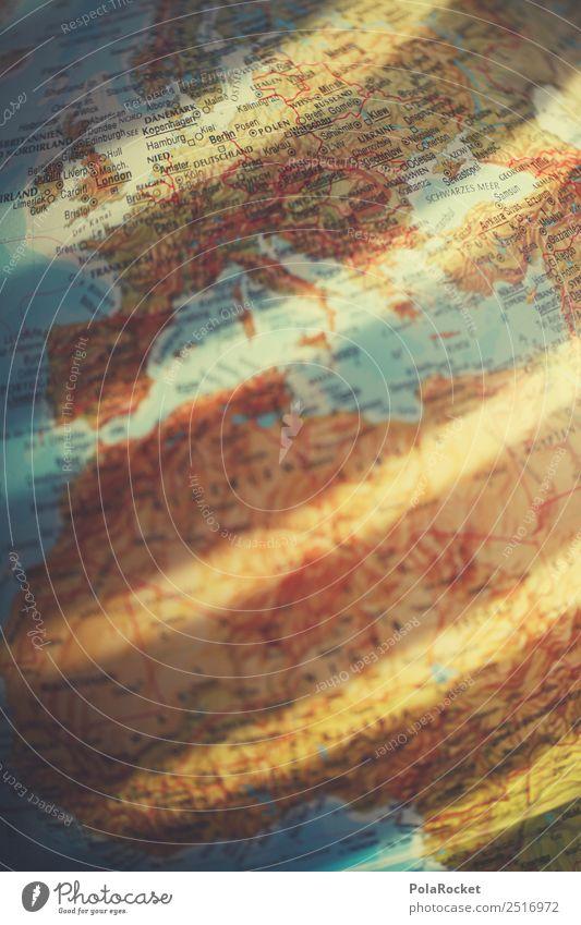 #A# Erde im Fokus Kunst Kunstwerk ästhetisch Globus Planet Kontinente Europa Landkarte Lichtspiel Mittelmeer Fernweh Ferien & Urlaub & Reisen Urlaubsort