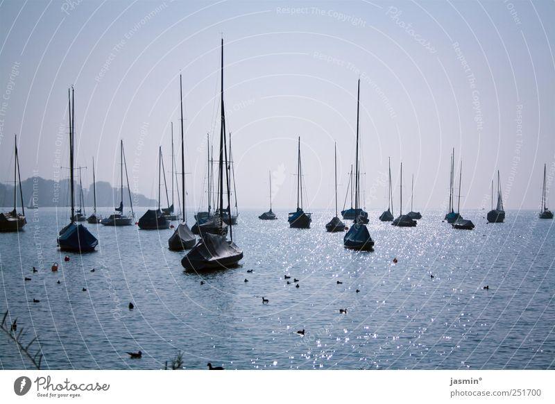 Frieden. Landschaft Wasser Herbst Schönes Wetter See Schifffahrt Fischerboot Segelboot Jachthafen Glück Zufriedenheit Lebensfreude Warmherzigkeit Sehnsucht