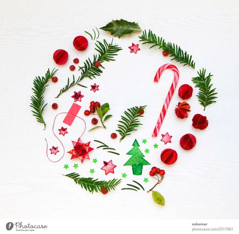 christmas flatlay Zuckerstange Feste & Feiern Weihnachten & Advent Pflanze Baum Blatt Ilexblatt Tanne Tannenzweig Weihnachtsbaum Holz Zeichen Stern (Symbol)