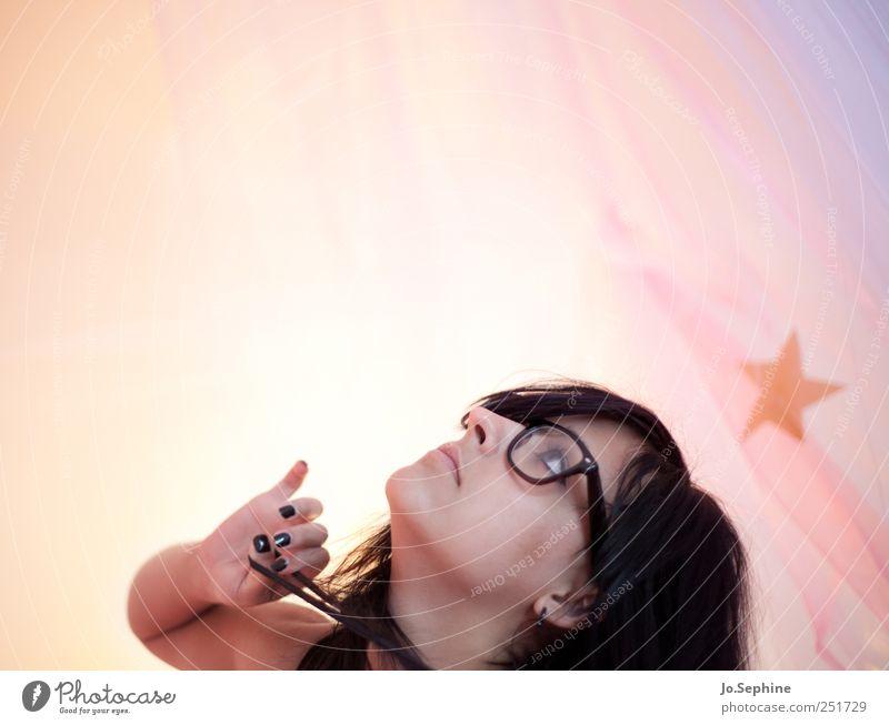 in the land of grapefruits and porcupines. Mensch Jugendliche feminin Erwachsene träumen Stern (Symbol) Brille 18-30 Jahre Junge Frau schwarzhaarig nerdig