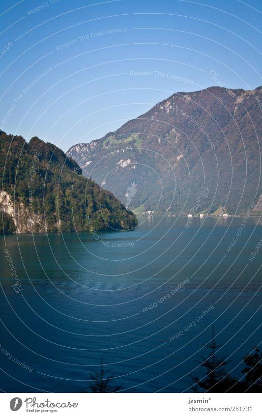 SeeBerge Umwelt Natur Pflanze Wasser Herbst Schönes Wetter Felsen Alpen Berge u. Gebirge Seeufer glänzend groß Farbfoto mehrfarbig Außenaufnahme Menschenleer