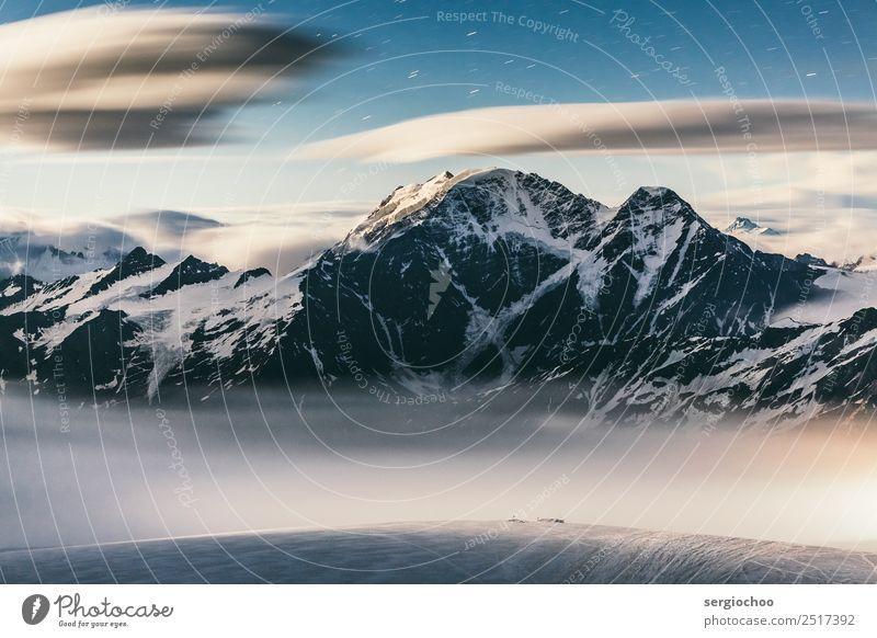 7 Winter Schönes Wetter Eis Frost Schnee Hügel Felsen Alpen Berge u. Gebirge elbrus Gipfel Schneebedeckte Gipfel Gletscher Bewegung Stern Sternenhimmel