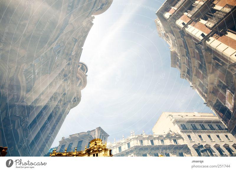 Madrid Himmel Haus Fassade groß Perspektive Macht Bankgebäude Spanien Doppelbelichtung Wirtschaft Stadtzentrum Politik & Staat aufstrebend himmelwärts Mietrecht