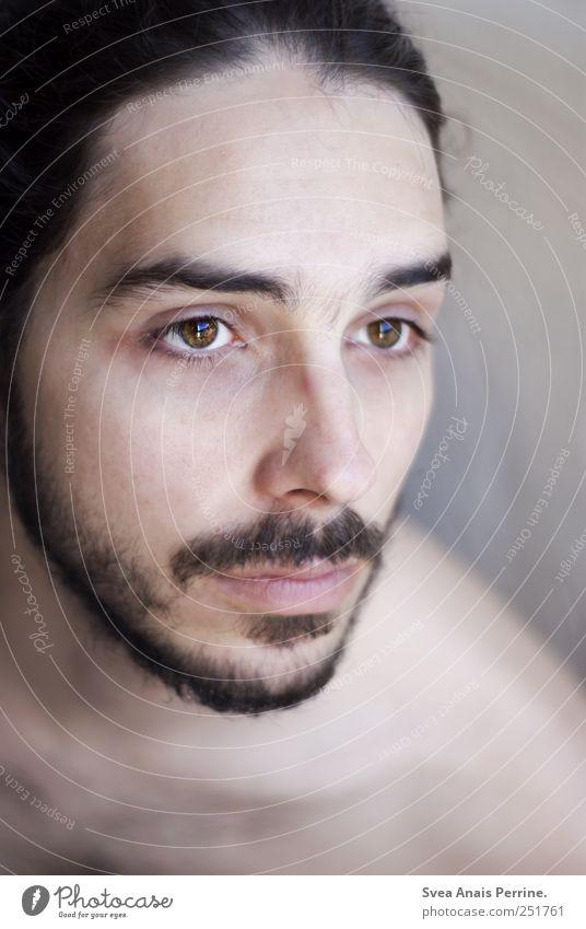 augen wie die. maskulin Kopf Haare & Frisuren Gesicht Mund 1 Mensch 18-30 Jahre Jugendliche Erwachsene schwarzhaarig Bart dünn Leidenschaft Hoffnung demütig
