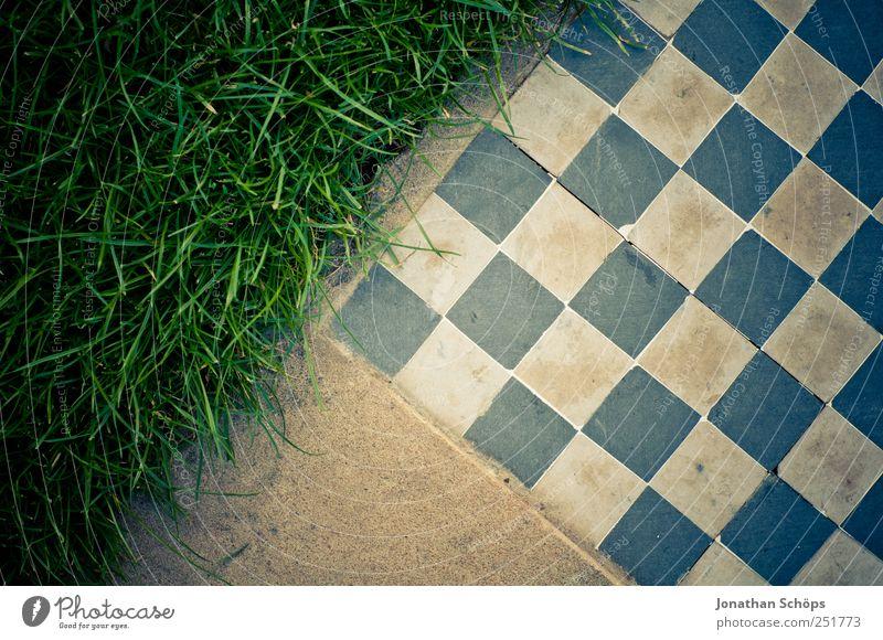 Grasmatt Stil Freizeit & Hobby Spielen blau braun grün weiß Geometrie Dreieck Schachbrett Wiese Stein Vignettierung kariert Spitze Quadrat Strukturen & Formen