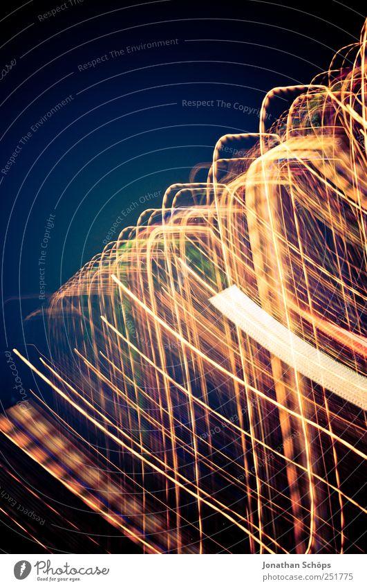 Blackpool Illuminations I blau gelb Bewegung Lampe Beleuchtung ästhetisch Geschwindigkeit verrückt Technik & Technologie Straßenbeleuchtung Dynamik